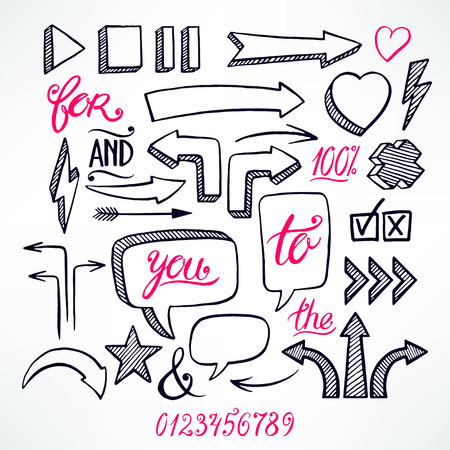 vector set of hand-drawn arrows and bubbles icons on white background Illustration