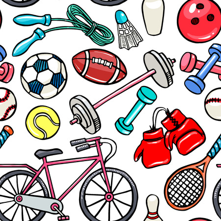 Seamless background with sports equipment. hand-drawn illustration