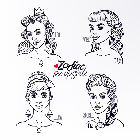 pin up: set of four zodiac signs as a girls in the pin-up style. Hand-drawn illustration
