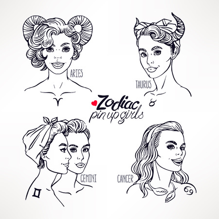 gemini girl: set of four zodiac signs as a girls in the pin-up style. Hand-drawn illustration