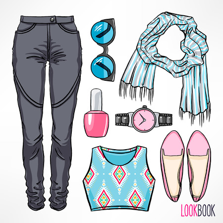 gray clothing: Womans spring outfit. Dress and accessories. hand-drawing illustration Illustration