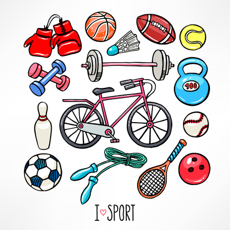 set with sport equipment. hand-drawn illustration 向量圖像