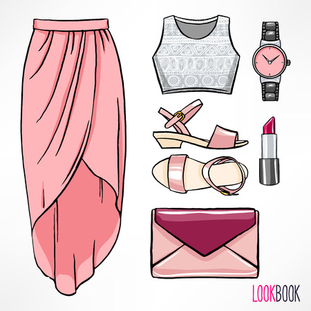 fashion clothing: Womans summer outfit. Dress and accessories. hand-drawing illustration Illustration