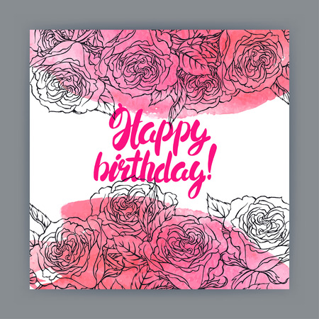 Beautiful greeting birthday card with roses, watercolor strokes and text