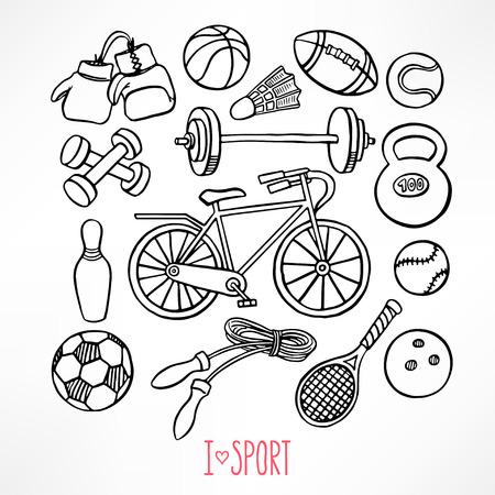 salud y deporte: conjunto con el material de deporte boceto. ilustración de mano