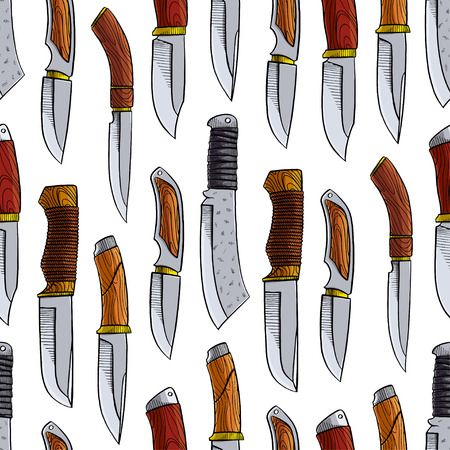 Seamless background with different hunting knives. hand-drawn illustration