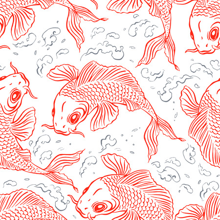 red fish: Seamless background with beautiful red carps and splashing water