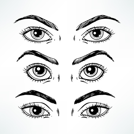 women face stare: Set of three different womens eyes. hand-drawn illustration Illustration