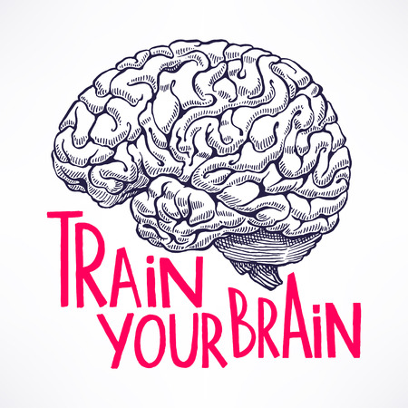 cerebro humano: Entrena tu cerebro. tarjeta hermosa con un cerebro humano y la cita de motivación. ilustración de mano Vectores