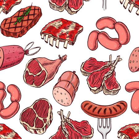 carne roja: de fondo sin fisuras con productos cárnicos apetecibles. ilustración de mano