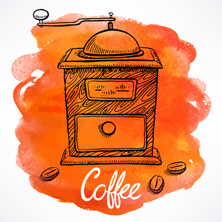 grinder: coffee grinder on the background of watercolor stains. hand-drawn illustration