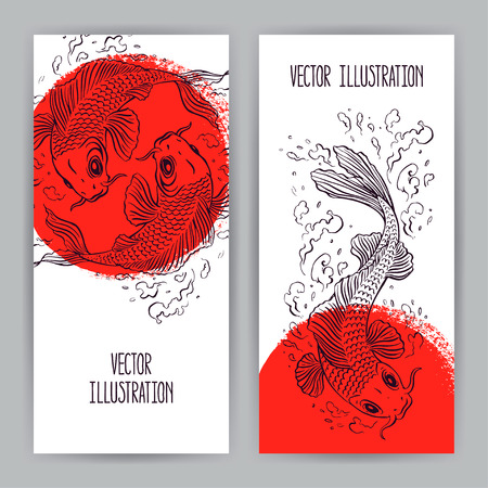 koi: two beautiful vertical banners with Japanese carps in the red circle. hand-drawn illustration Illustration