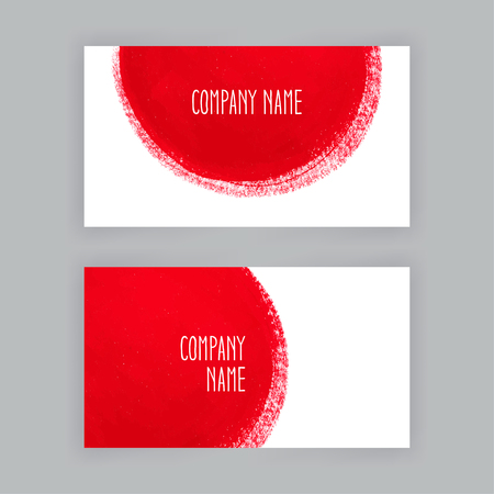 colorful paint: two business cards template with hand painted round red brush strokes Illustration