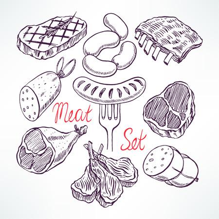 conjunto de produtos de carne apetitosos. ilustração desenhados à mão