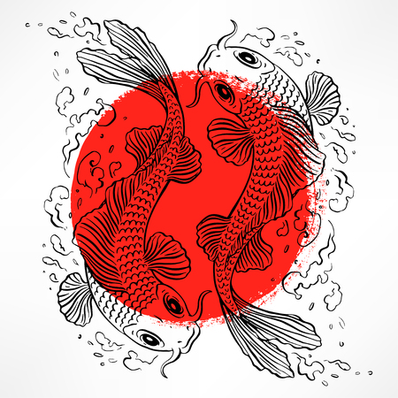 beautiful card with Japanese carps in the red circle. hand-drawn illustration