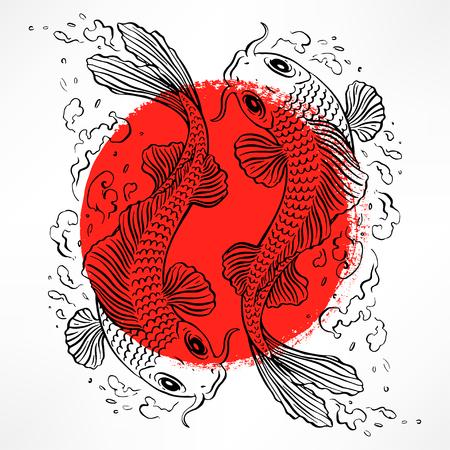 Hermosa tarjeta con carpas japonesas en el círculo rojo. dibujado a mano ilustración Foto de archivo - 45965514