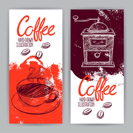 grinder: two beautiful banners with grinder and cup of coffee. hand-drawn illustration