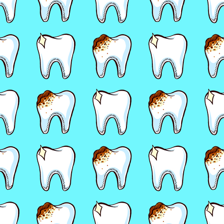 bad teeth: Dentistry. caries. seamless pattern with healthy and bad teeth
