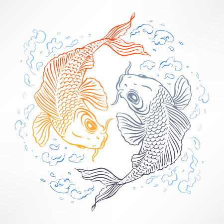 beautiful card with orange and gray Japanese carps. hand-drawn illustration