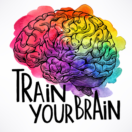 blue brain: Train your brain. beautiful card with a human brain and motivational quote. hand-drawn illustration