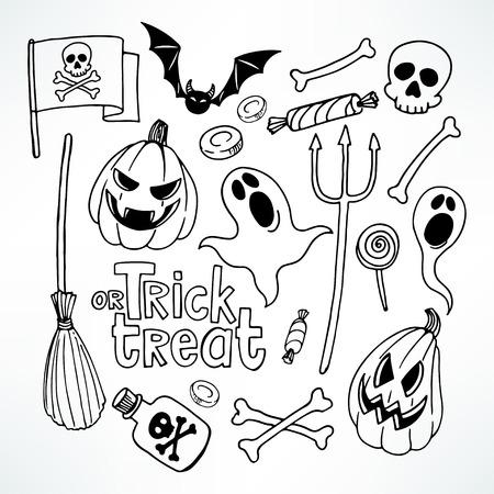 citrouille halloween: Halloween réglé. Réglez avec les symboles de vacances mignons. illustration dessinée à la main