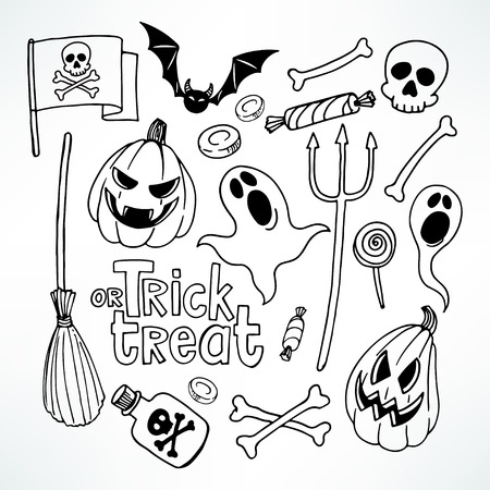 pumpkin halloween: Halloween set. Set with cute holiday symbols. hand-drawn illustration