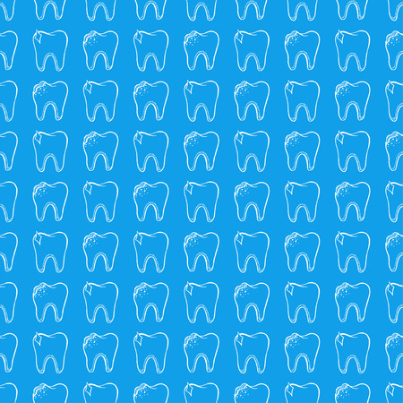 Dentistry. caries. blue seamless pattern with healthy and bad teeth Illustration