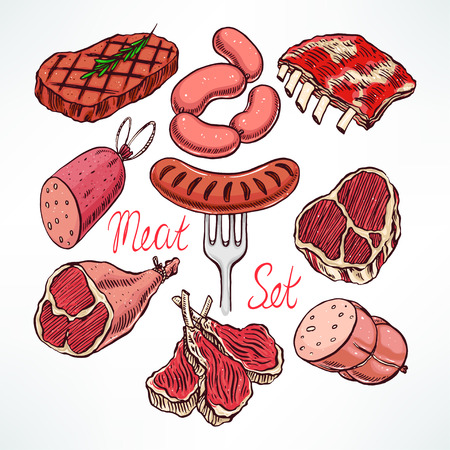 beef: colorful set of appetizing meat products. hand-drawn illustration Illustration