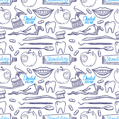 people smiling: Dentistry. seamless background of dental tools. hand-drawn illustration Illustration