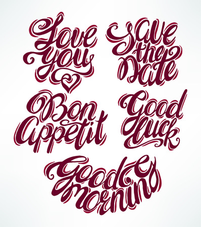 phrases: Quote collection with different phrases. Hand-drawn illustration. Vintage calligraphy. Illustration