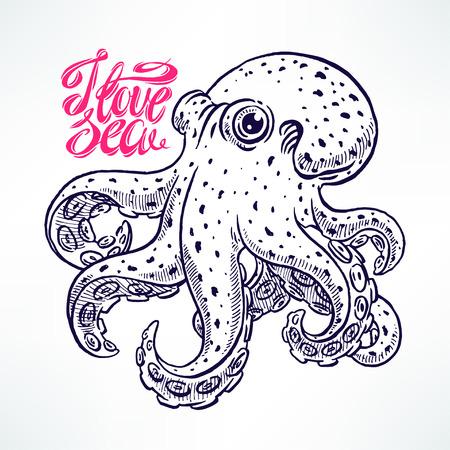 deep pink: beautiful cute sketch octopus. hand-drawn illustration