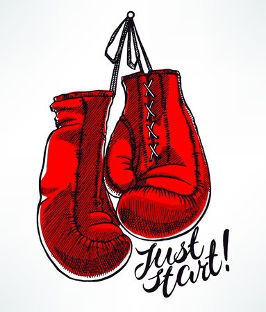just start. red boxing gloves. hand-drawn illustration