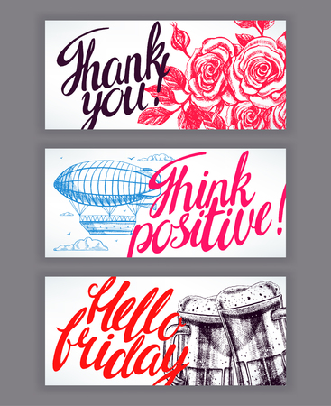 three wishes: Three beautiful cards with good wishes. hand-drawn illustration