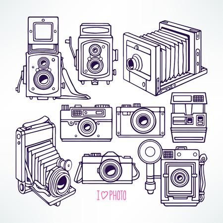 macchina fotografica: impostato con diversi macchine fotografiche d'epoca. Illustrazione disegnata a mano
