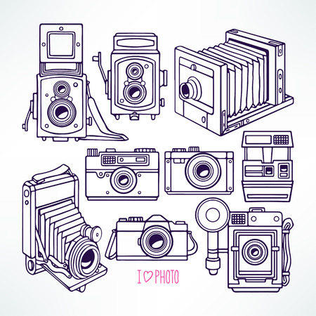 people  camera: set with different vintage cameras. hand-drawn illustration Illustration