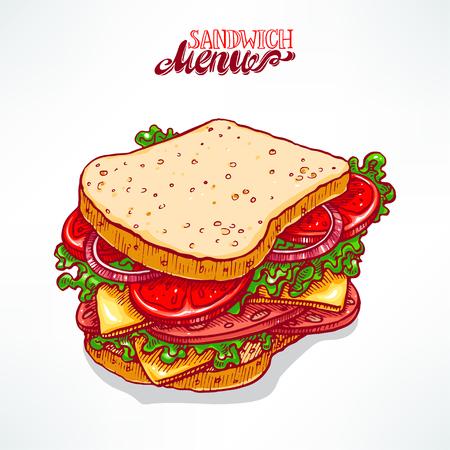 appetizing: delicious appetizing sandwich. hand-drawn illustration