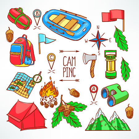 Set of camping equipments. Hand-drawing illustration