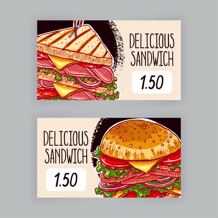 sandwich white background: Two cute banners with appetizing sandwiches. price tags. hand-drawn illustration