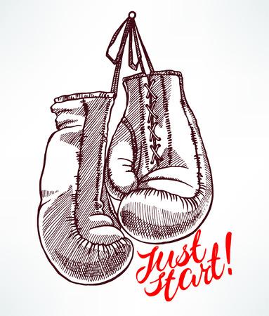 combative: just start. sketch boxing gloves. hand-drawn illustration