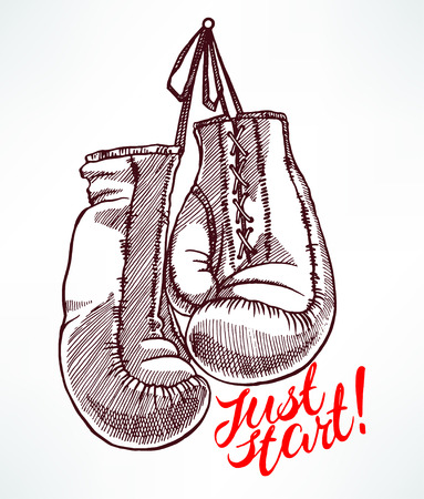 solo empieza. los guantes de boxeo de croquis. dibujado a mano ilustración Ilustración de vector