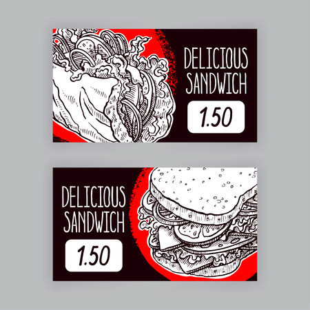 bakery price: Two cute banners with appetizing sandwiches. price tags. hand-drawn illustration