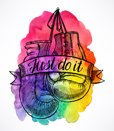 just do it: just do it. boxing gloves on a colorful watercolor background. hand-drawn illustration
