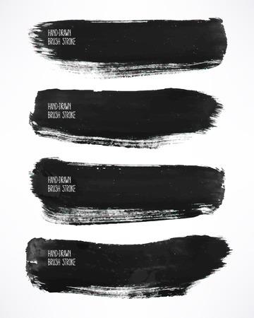 Set met een vier zwarte aquarel penseelstreken