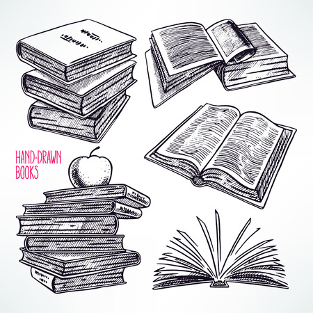 a literary sketch: Set of different books. hand-drawn illustration