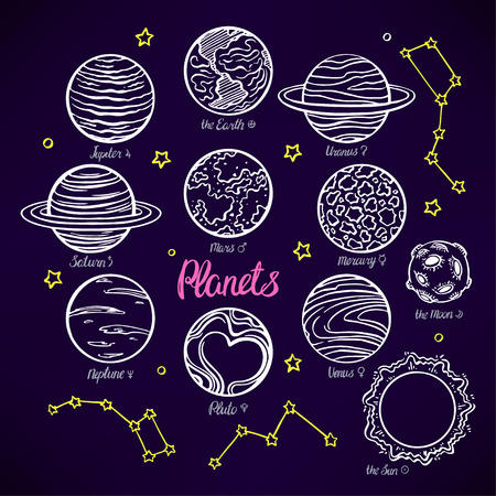 constellations: Set with the planets of the solar system and the constellations on dark background. hand-drawn illustration Illustration