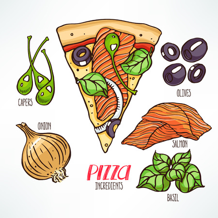 pizza ingredients. piece of pizza with salmon. hand-drawn illustration