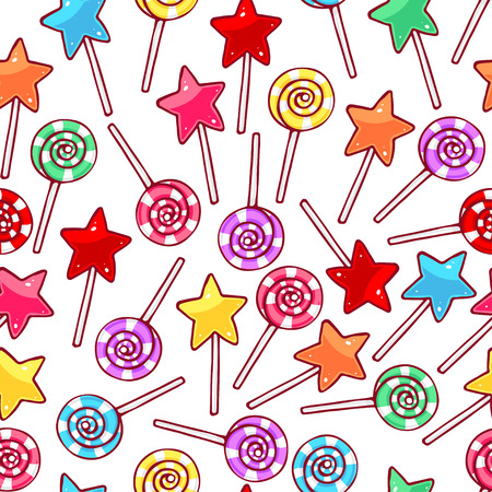 lollipops: Cute seamless pattern with multi-colored lollipops. hand-drawn illustration