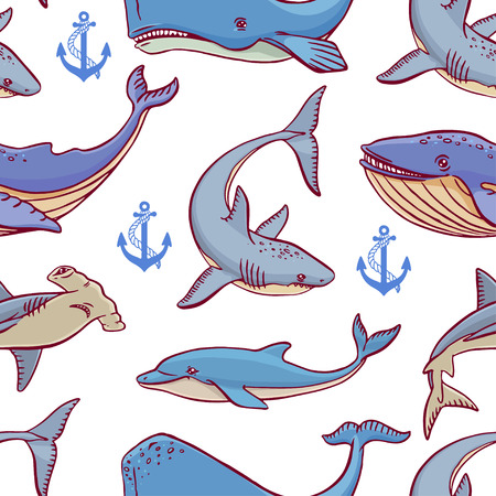 creatures: Seamless of large ocean creatures. hand-drawn illustration
