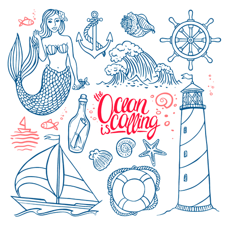 beautiful set on the marine theme. Mermaid and the lighthouse. hand-drawn illustration