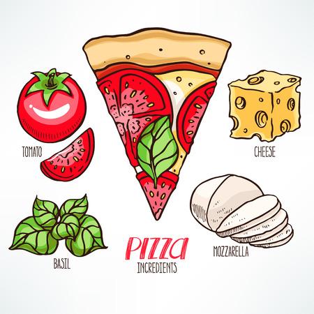 mozzarella: pizza ingredients. piece of pizza with tomatoes and mozzarella. hand-drawn illustration